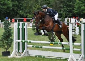 Pferd springt mit Reiterin über Hindernis in Boesingfeld am 23.06.13