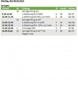 Zeiteinteilung Bad Lippspringe Ostermontag 2015